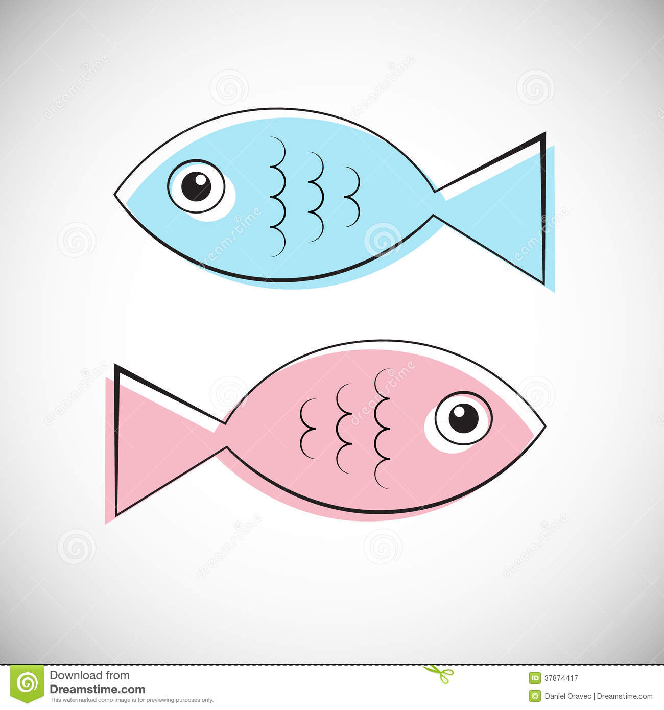 blue and pink fish illustration isolated on light grey background, Reel Combo