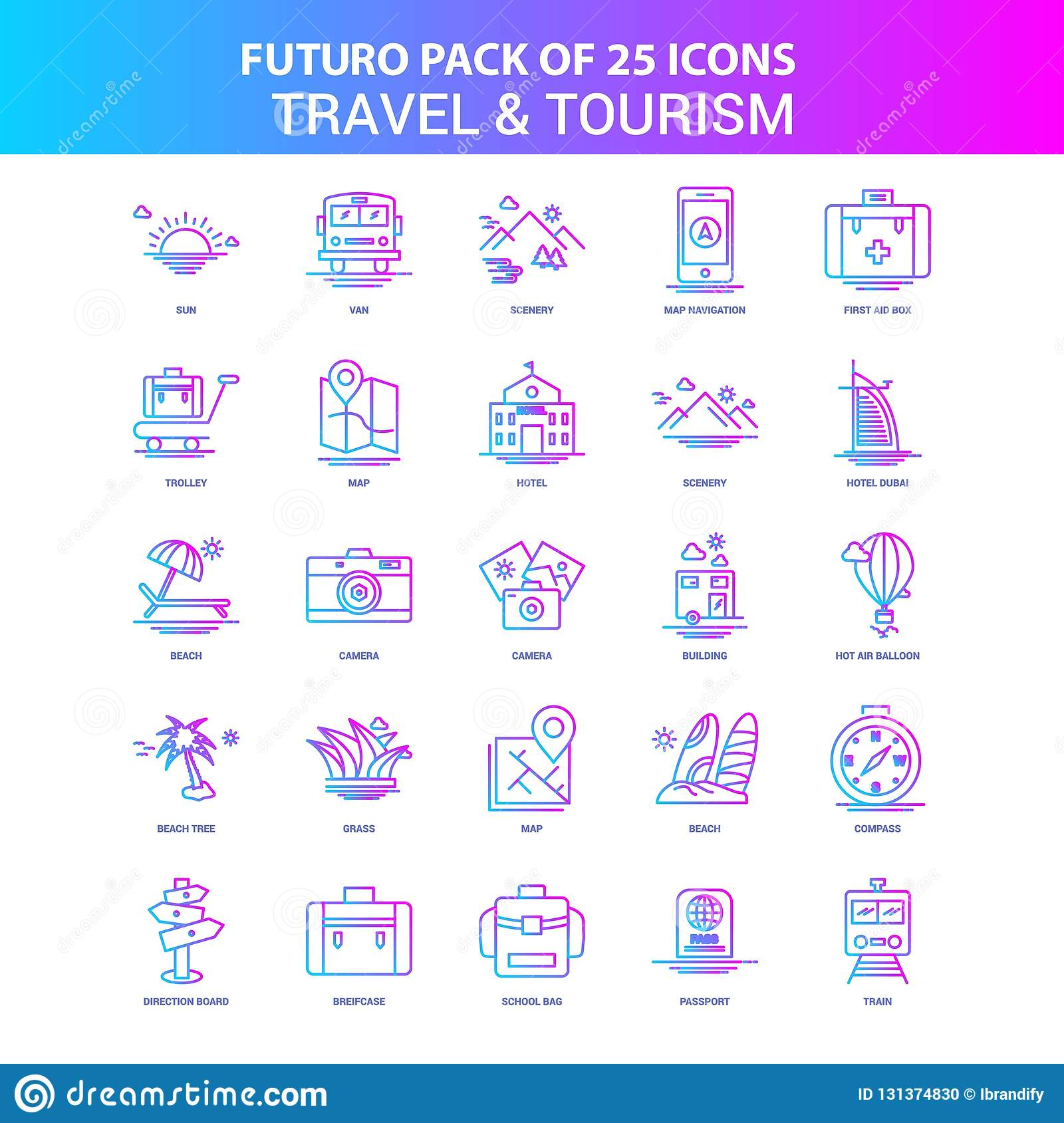 25 Blue and Pink Futuro Travel and Tourism Icon Pack