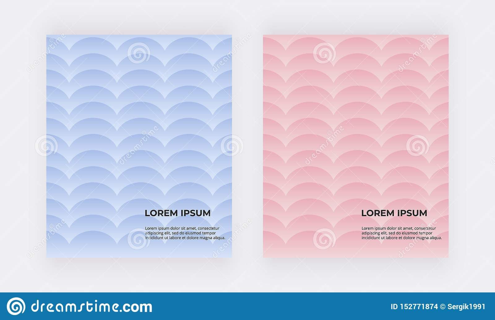 Blue and pink geometric backgrounds. Covers with mermaid scales.