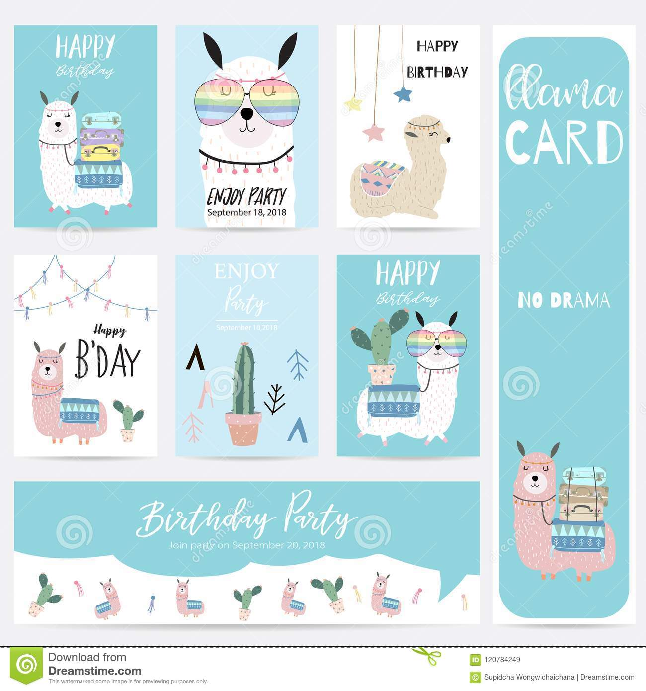 933619295 Blue Pink Hand Drawn Cute Card With Llama,glasses,cactus And Hat ...