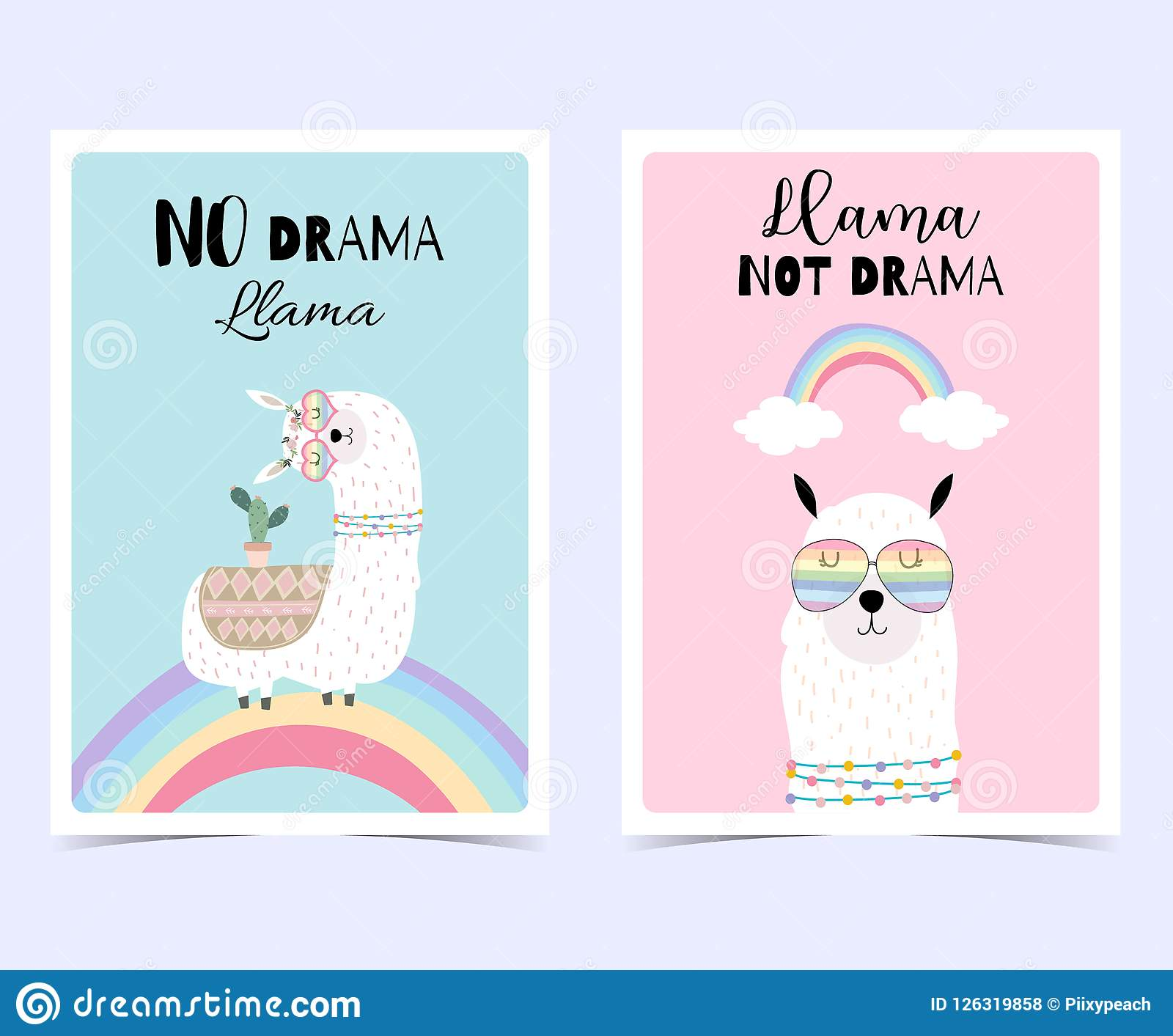 a01c86179 Blue Pink Hand Drawn Cute Card With Llama, Glasses,cactus And Ra ...