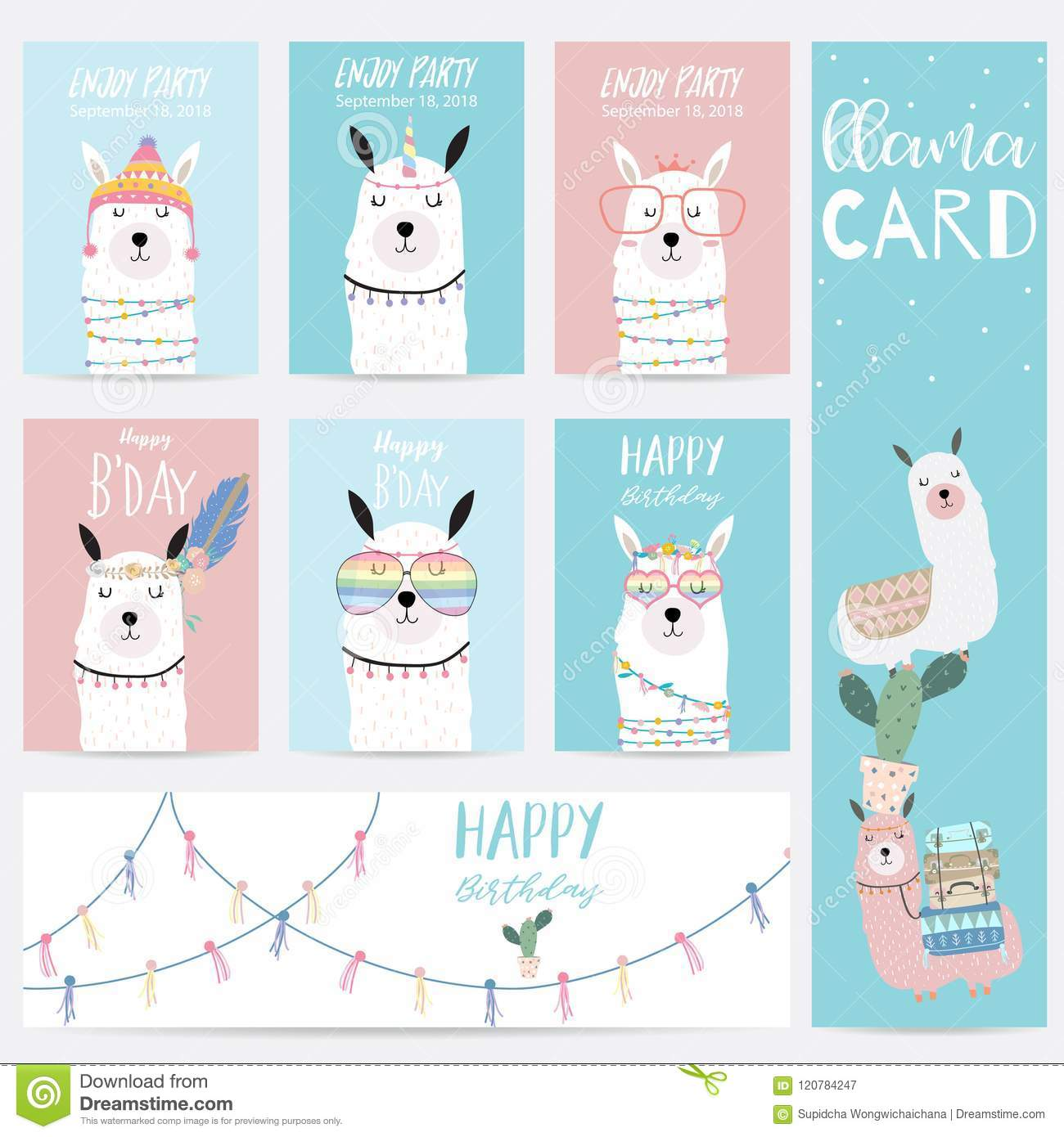 4e57cf3bb Blue Pink Hand Drawn Cute Card With Llama,glasses And Hat Stock ...