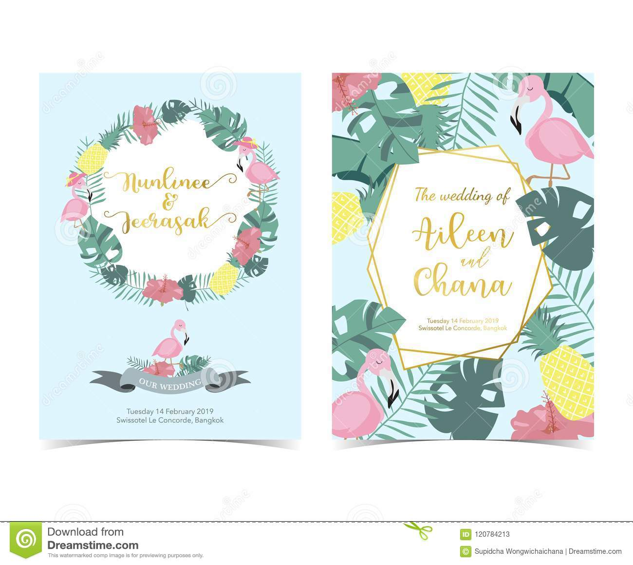 blue pink invitation card with palm pineapplehibiscus