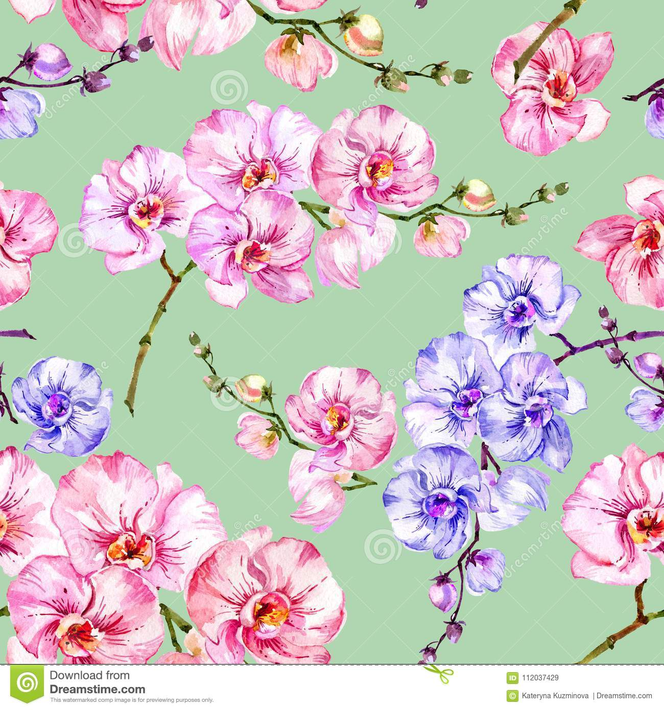 Blue And Pink Orchid Flowers On Light Green Background Seamless