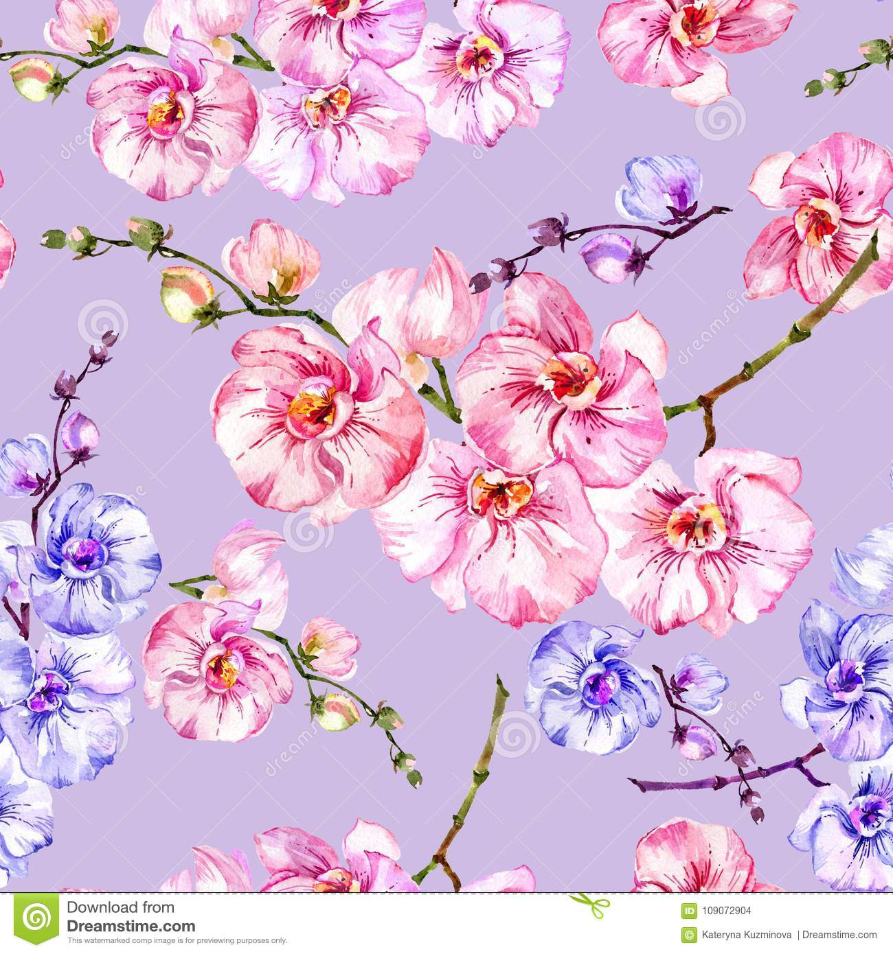 4b4e9da9bbf69 Blue And Pink Orchid Flowers On Light Lilac Background. Seamless ...