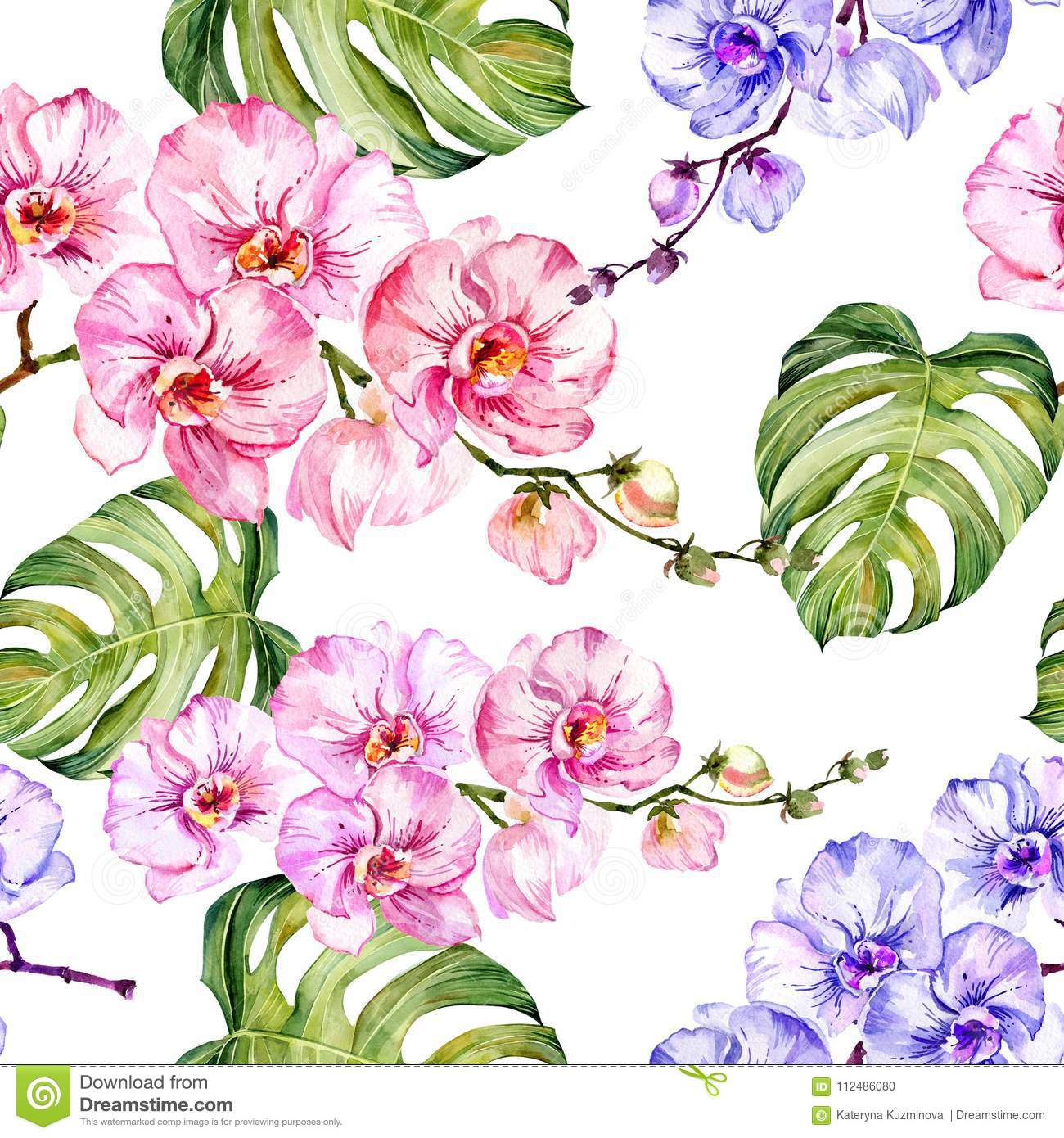 Blue and pink orchid flowers and monstera leaves on white background. Seamless floral pattern. Watercolor painting.