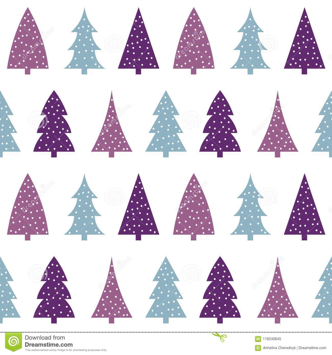 Blue Pink Purple Christmas Tree On A White Background Pattern Se Stock Vector Illustration Of Collection Blue 118240645