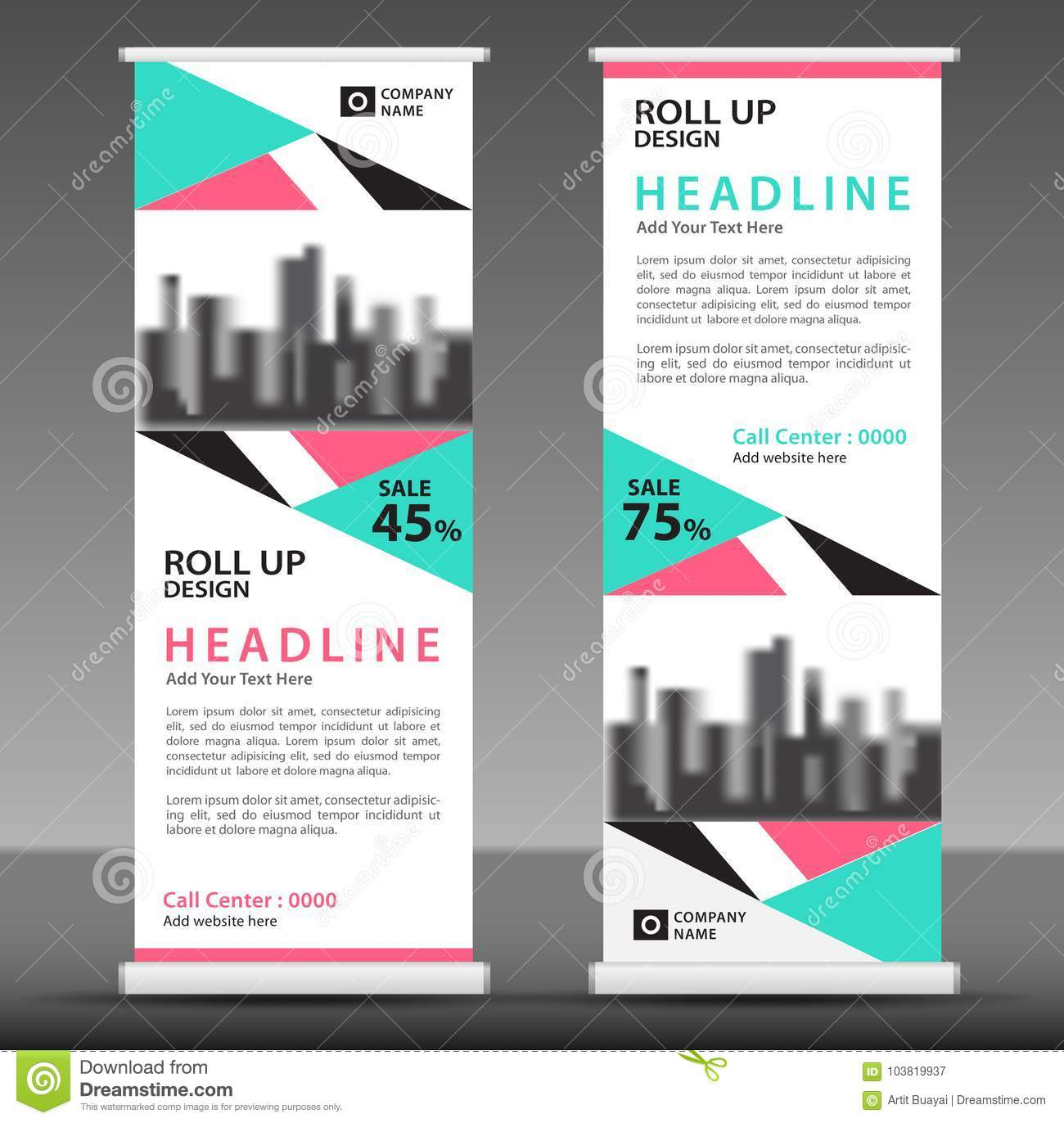 Blue-pink Roll Up Banner Template. Pull Up Layout. Stock Vector ...