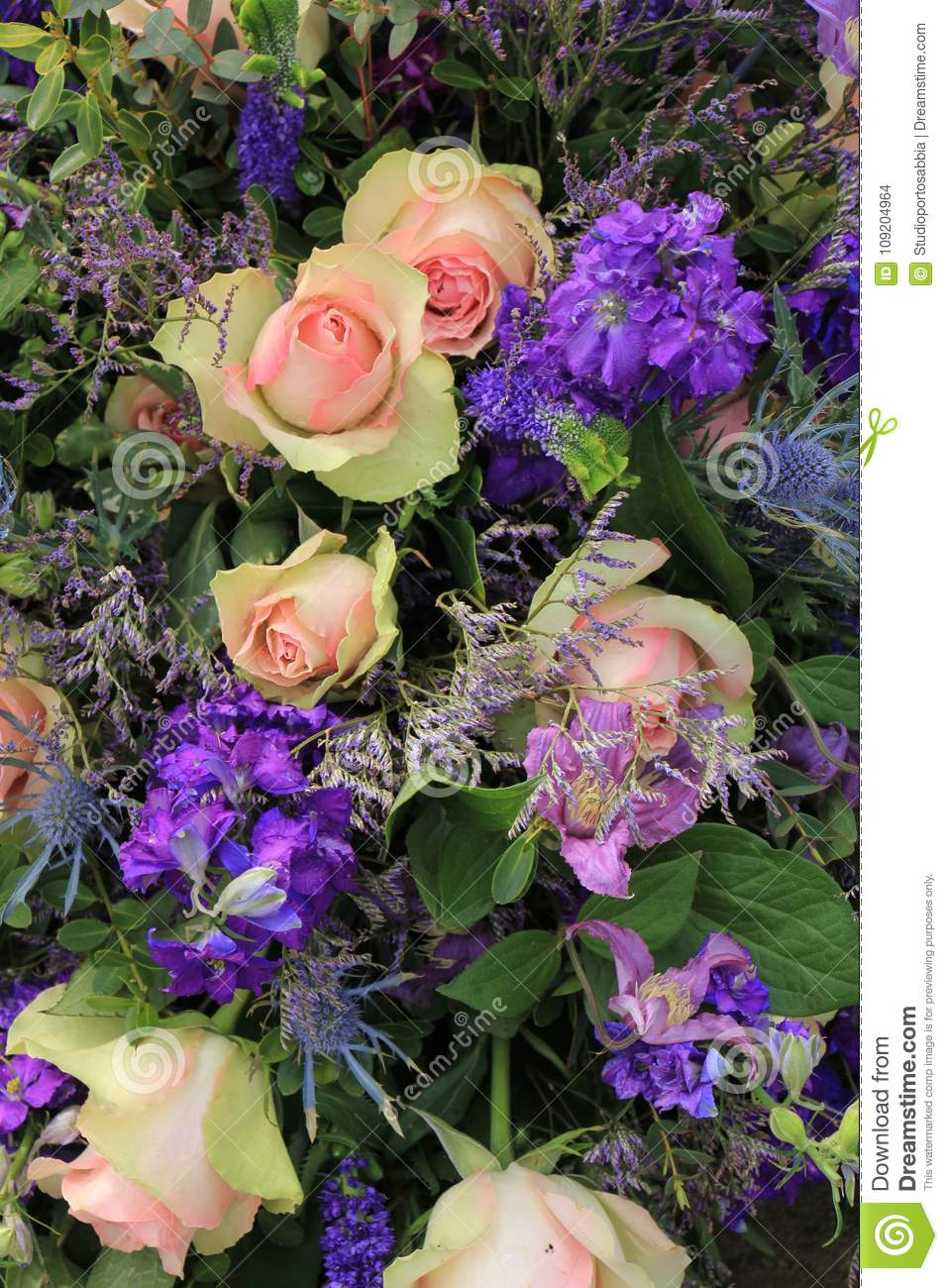 Blue And Pink Wedding Flowers Stock Photo Image Of Mixed