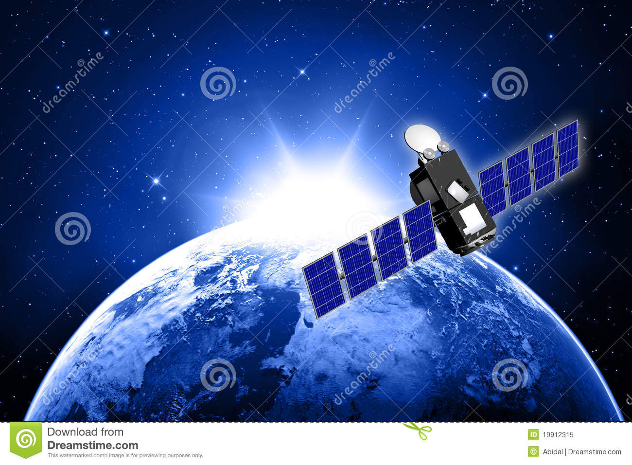 Blue Planet Earth And Satellite Stock Illustration Image