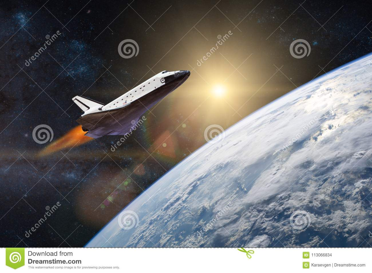 Blue planet Earth. Space shuttle taking off on a mission.