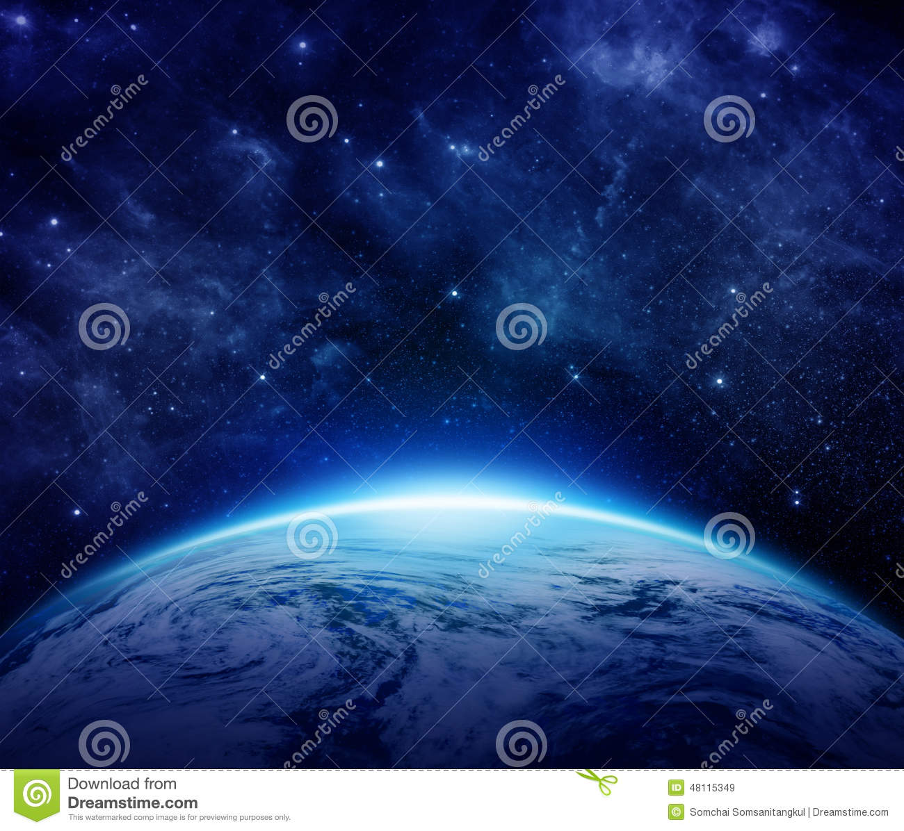 Blue Planet Earth, sun, stars, galaxies, nebulae, milky way in space can use for background