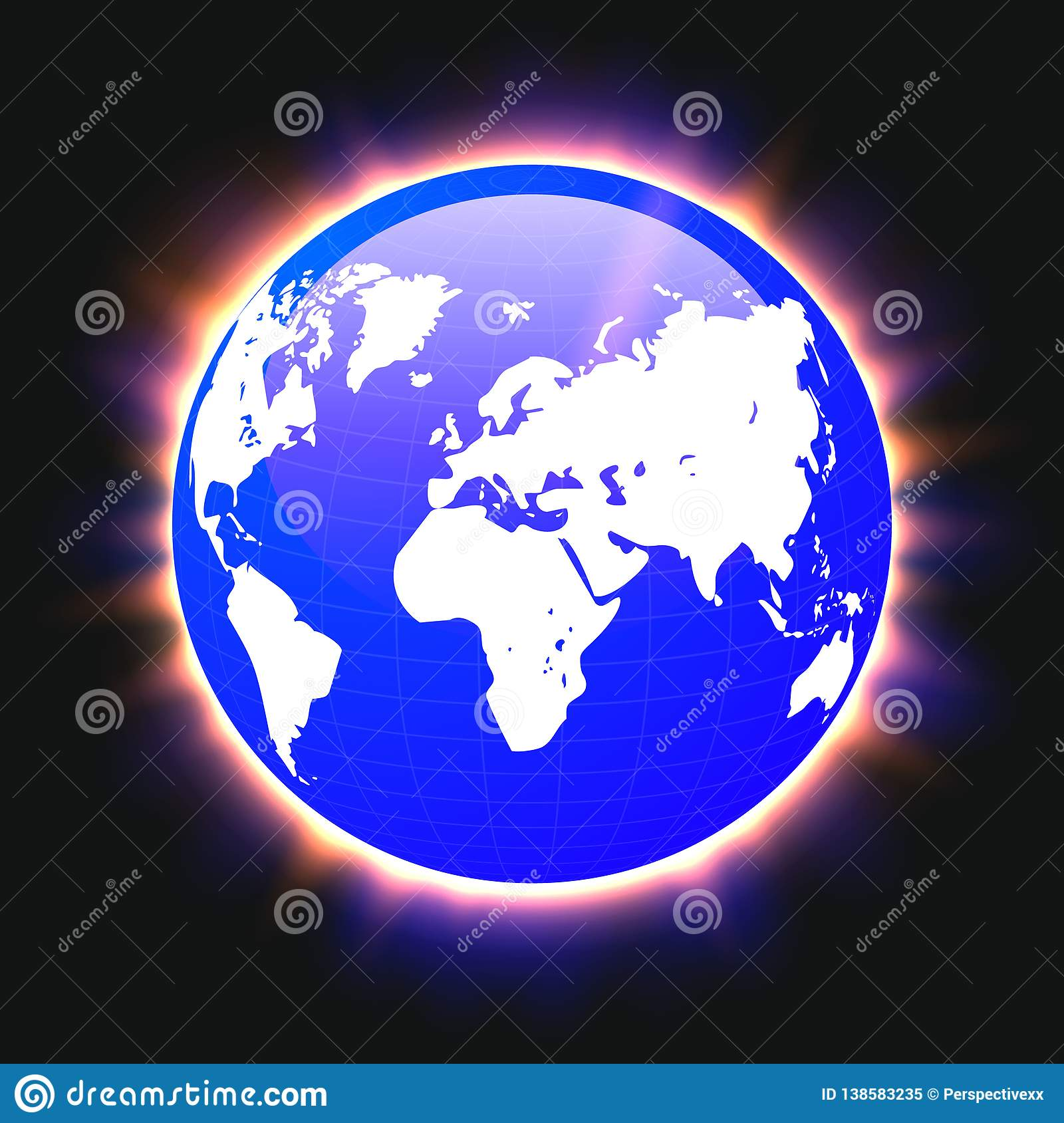 Blue planet earth and world map colorful light beams, vector