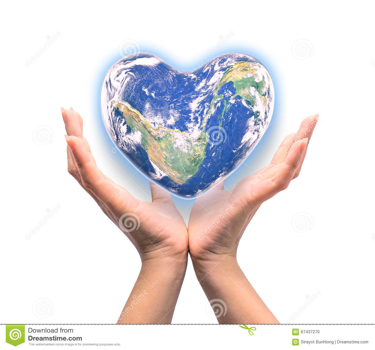 Blue Planet In Heart Shape Over Woman Human Hands Isolated