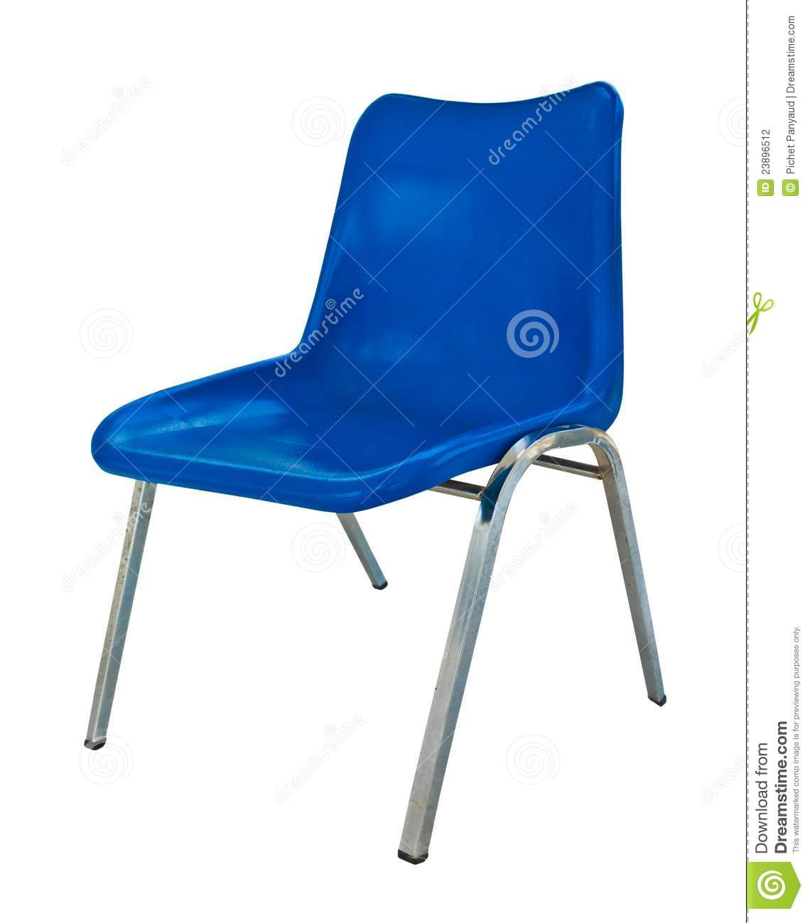 blue plastic chair on white background stock photography