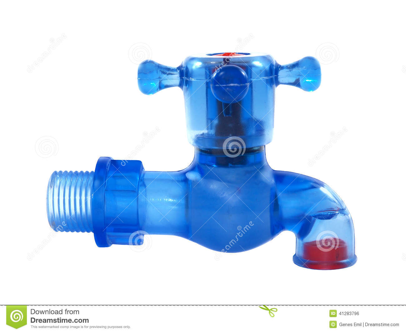Blue Plastic Water Tap Stock Photo. Image Of Pipes, Close