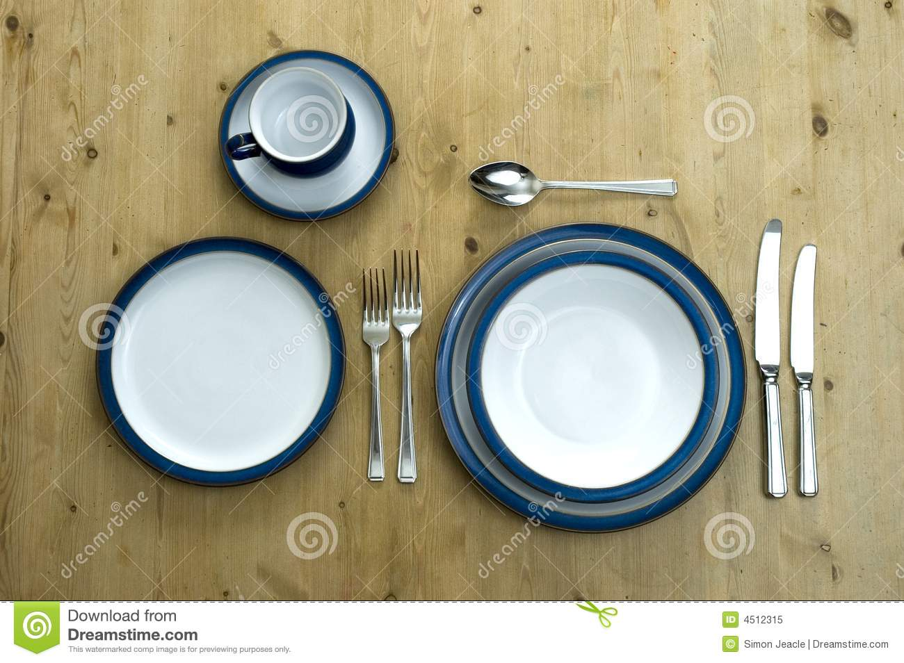 Blue Plate Setting stock image. Image of delph, dinner - 4512315