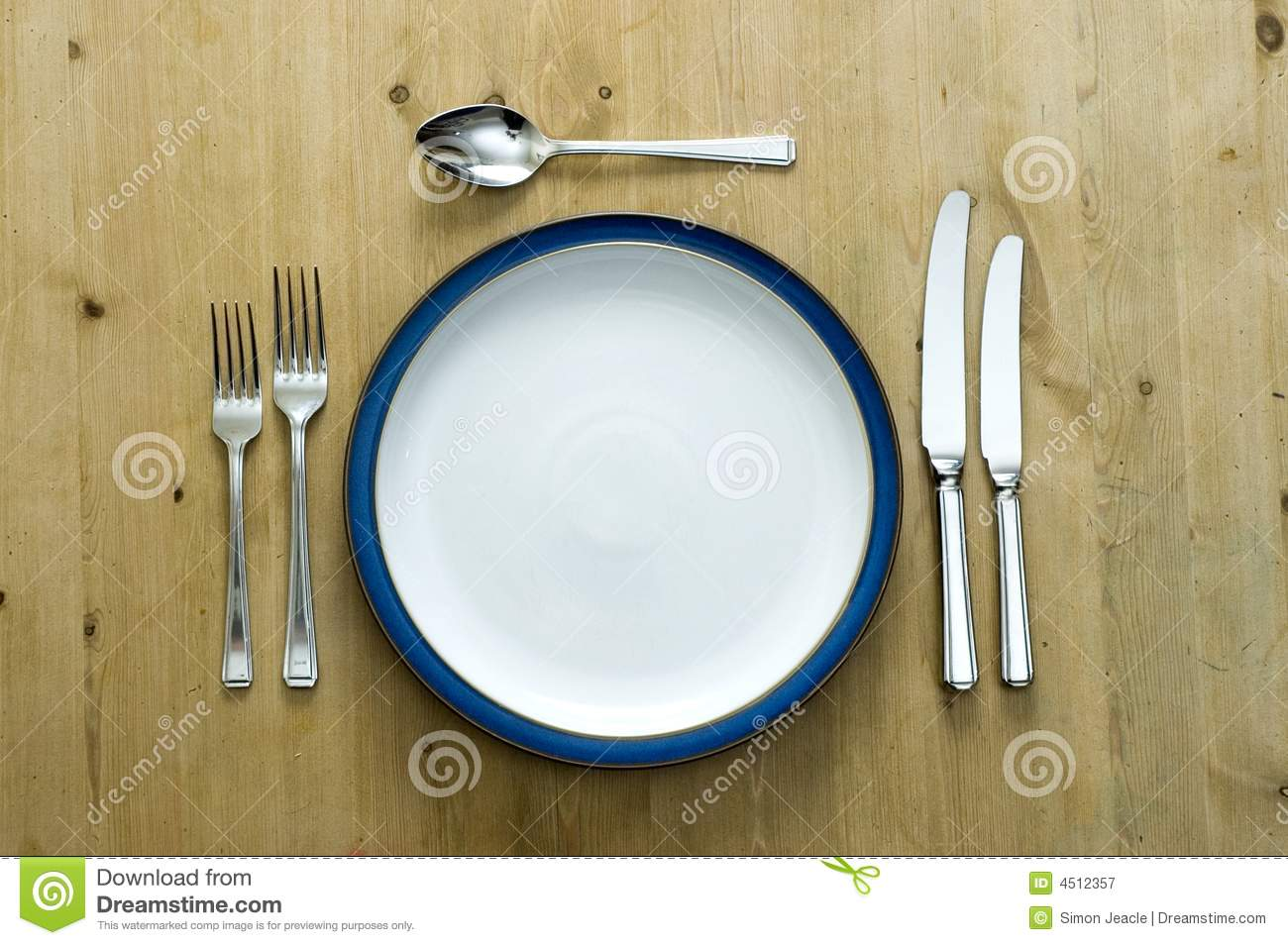 Blue Plate Setting stock image. Image of family, meal - 4512357