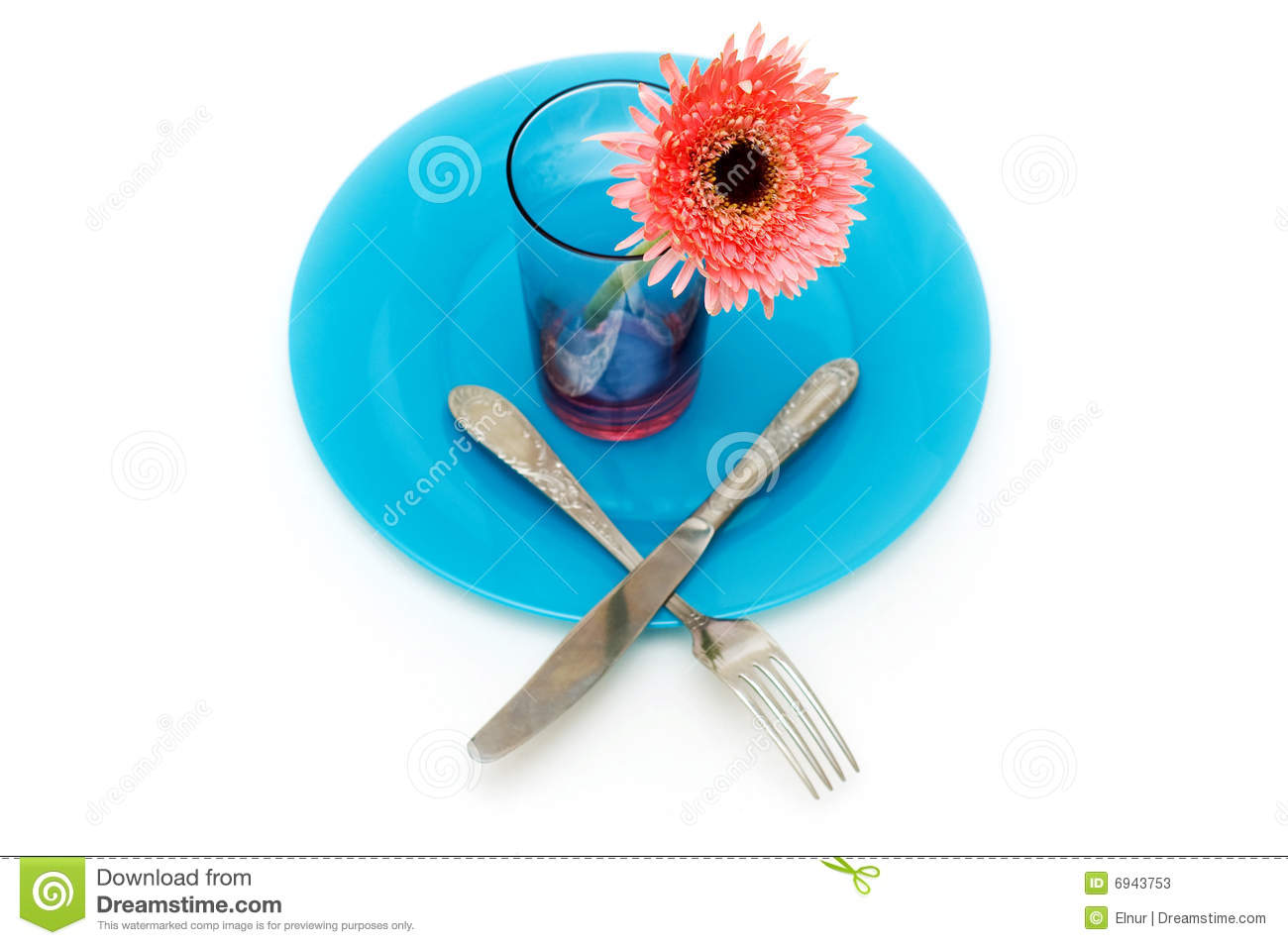 Blue plate and table utensils stock photos image 6943753 for Table utensils