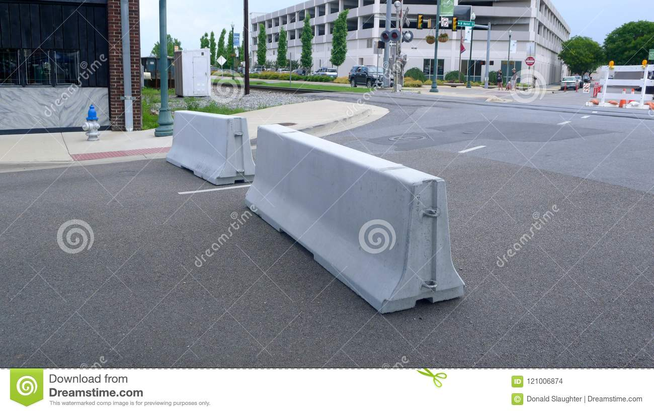 Blue Plum Festival - Traffic Barriers Editorial Stock Image - Image