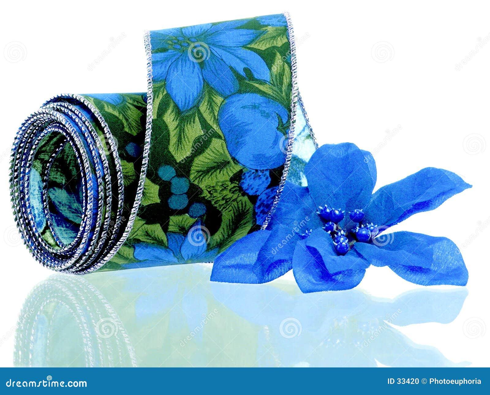 Blue Poinsettia Ribbon