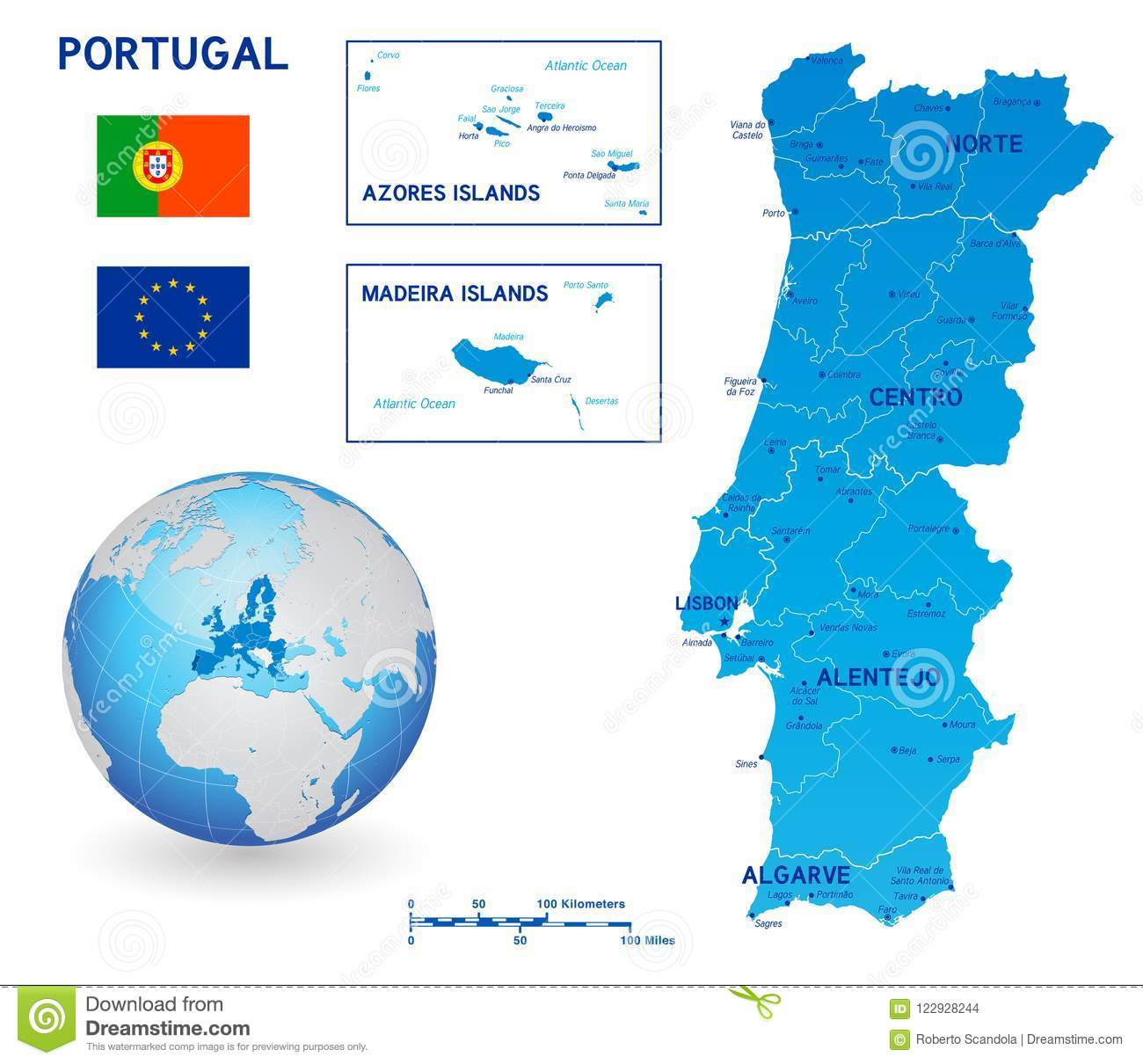 Blue Political Vector Map Of Portugal Stock Vector Illustration Of