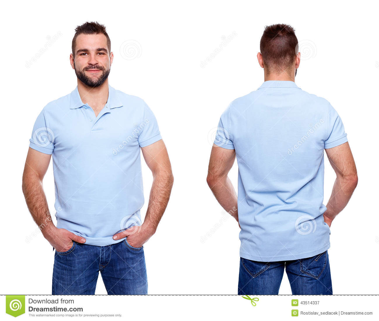 Blue Polo Shirt With A Collar On A Young Man Stock Photo