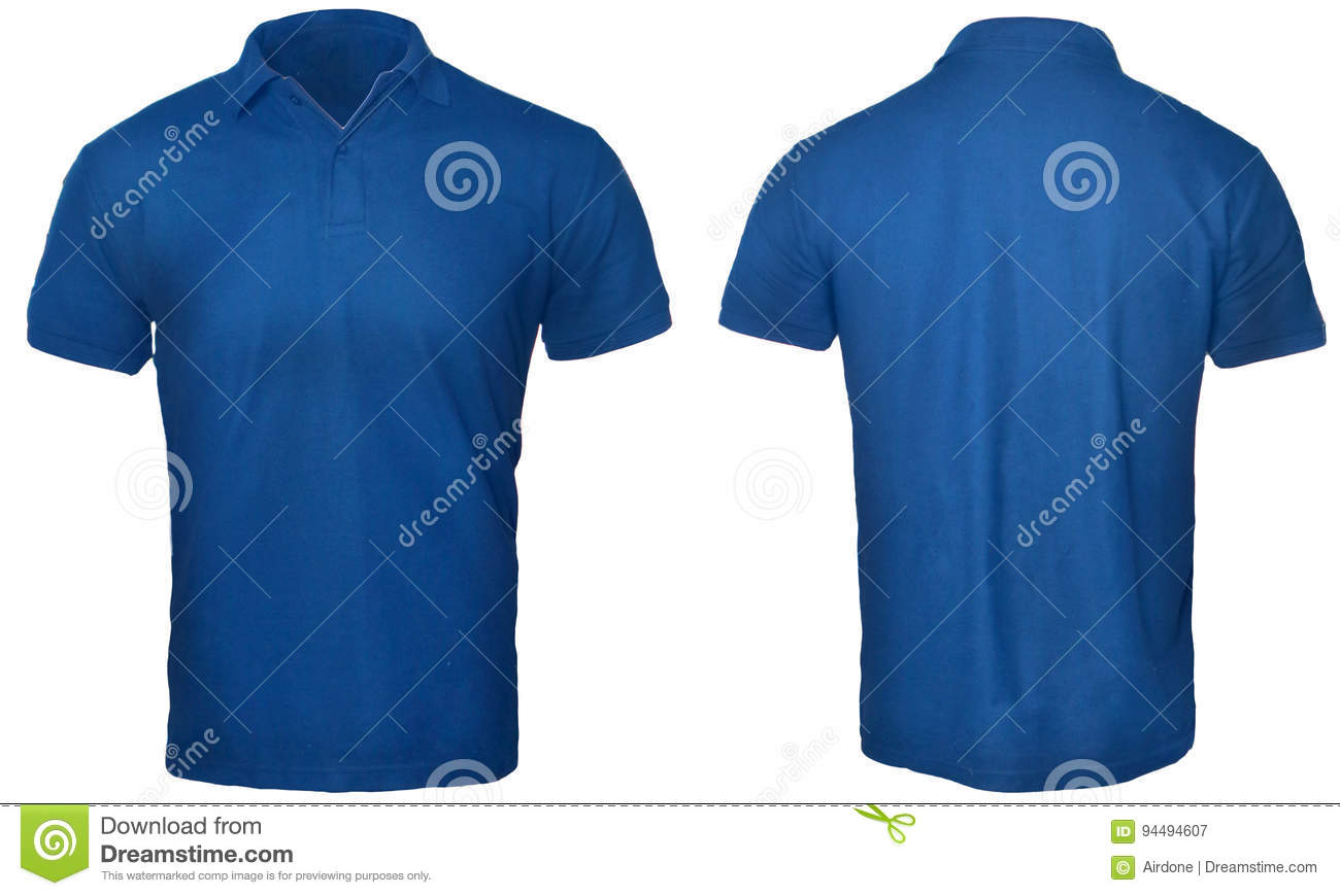 7361a4232 Blank polo shirt mock up template, front and back view, isolated on white, plain  blue t-shirt mockup. Polo tee design presentation for print.