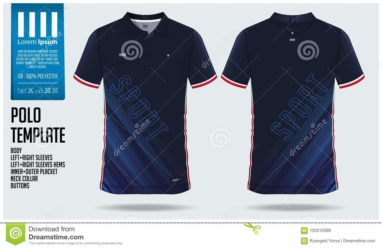 b320a9005 Blue Polo shirt sport template design for soccer jersey, football kit or  sportswear. Sport uniform in front view and back view. Royalty-Free Vector