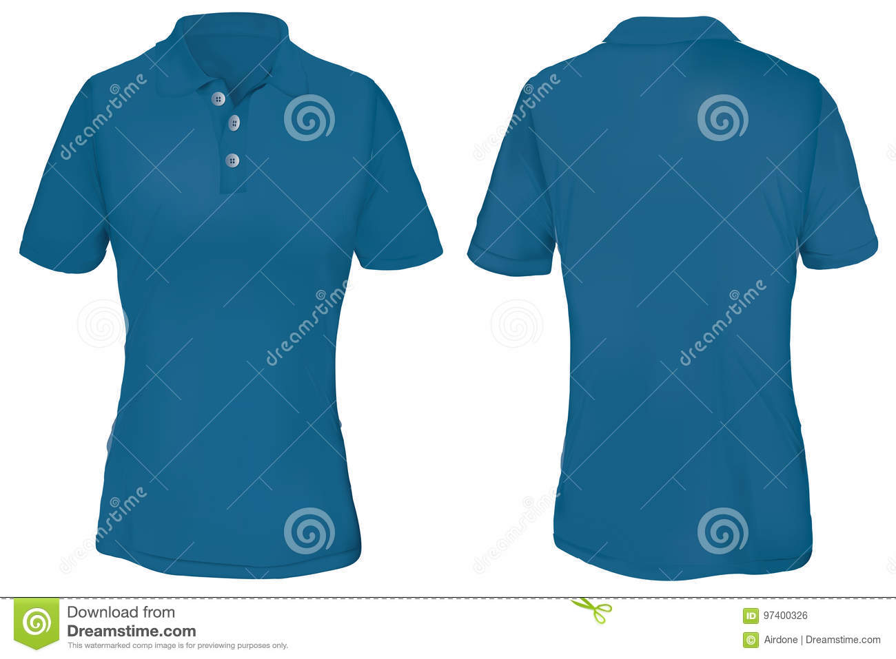 blue polo shirt template for woman stock vector illustration of
