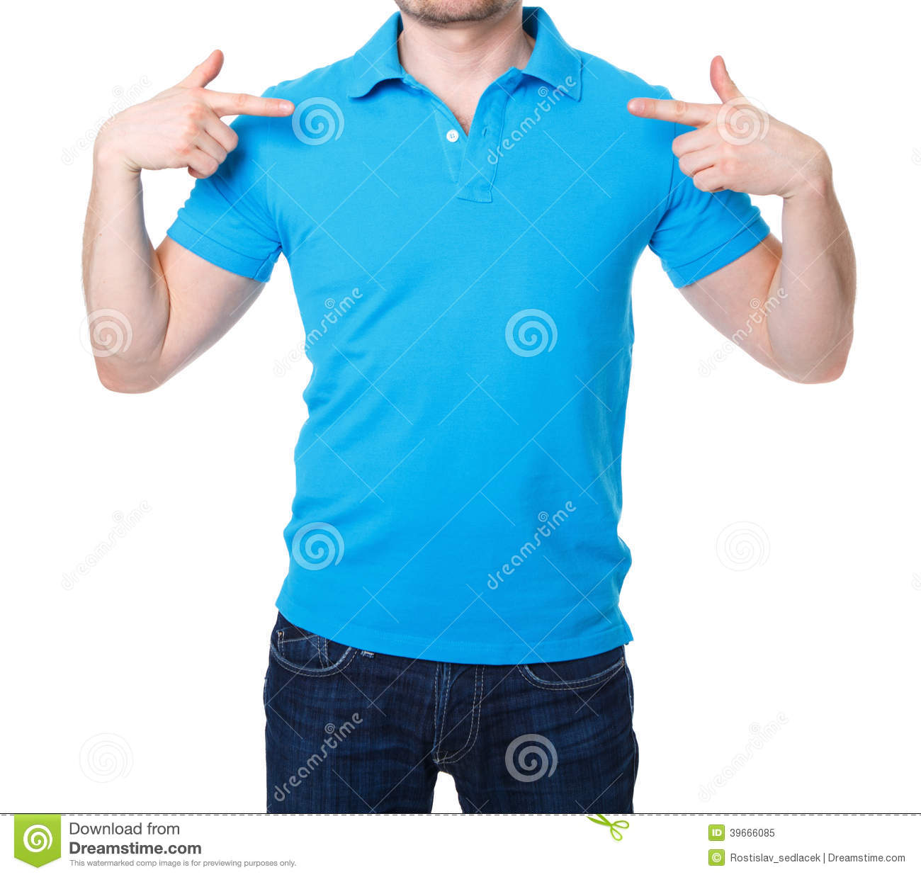Young man wearing blank tshirt and blue jeans on stock for Man in polo shirt