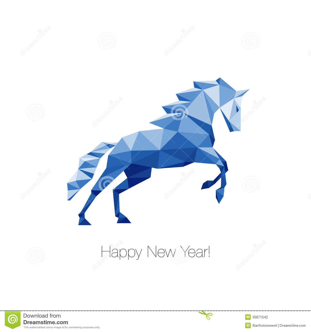 Blue Polygonal Horse As A Symbol Of New Year 2014 Stock