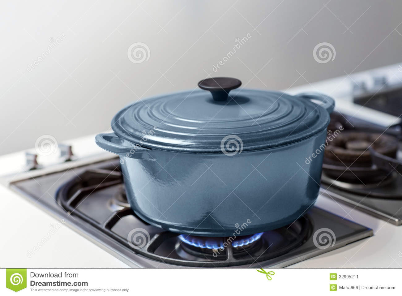 Blue Pot On A Gas Stove Stock Image Image Of Cook Blaze