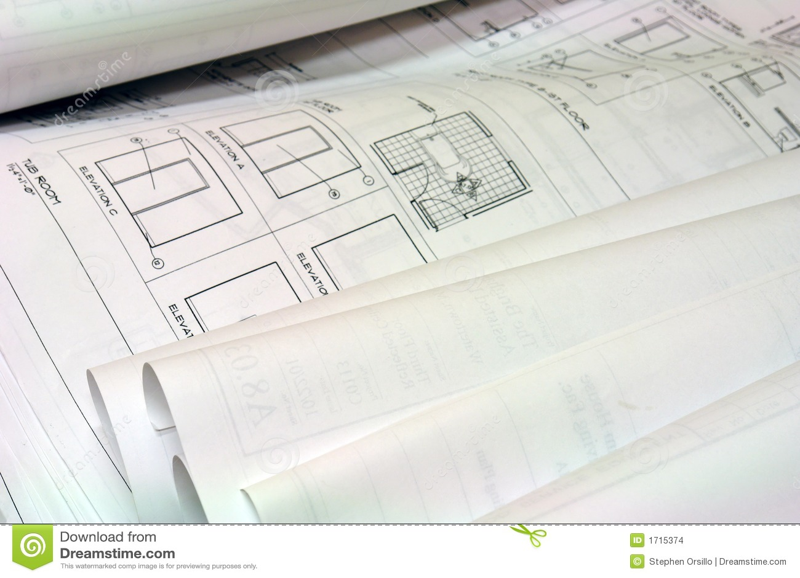 Blue Print Building Plans Stock Images Image 1715374