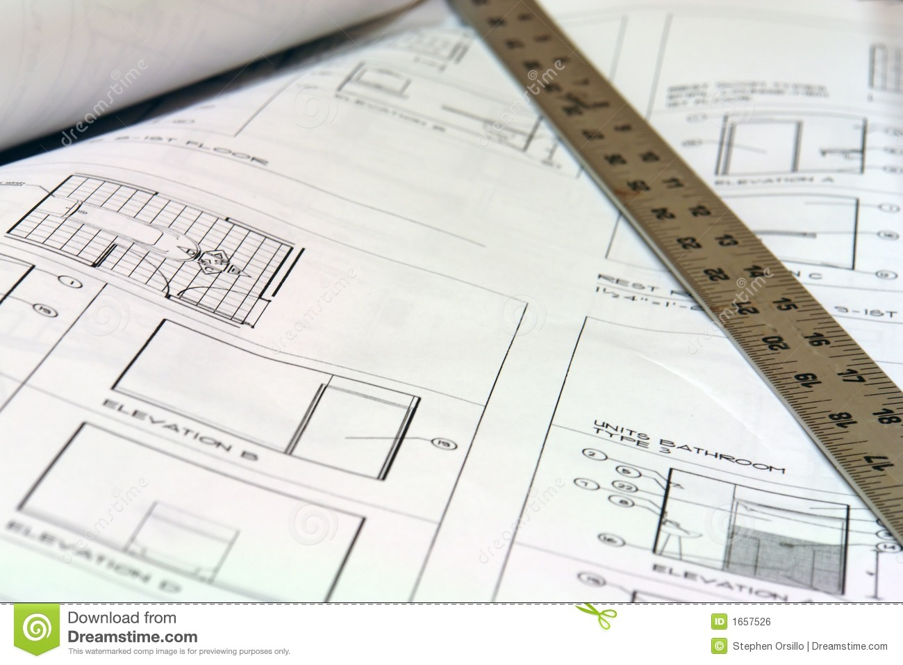 Blue Print Building Plans With Ruler Royalty Free Stock