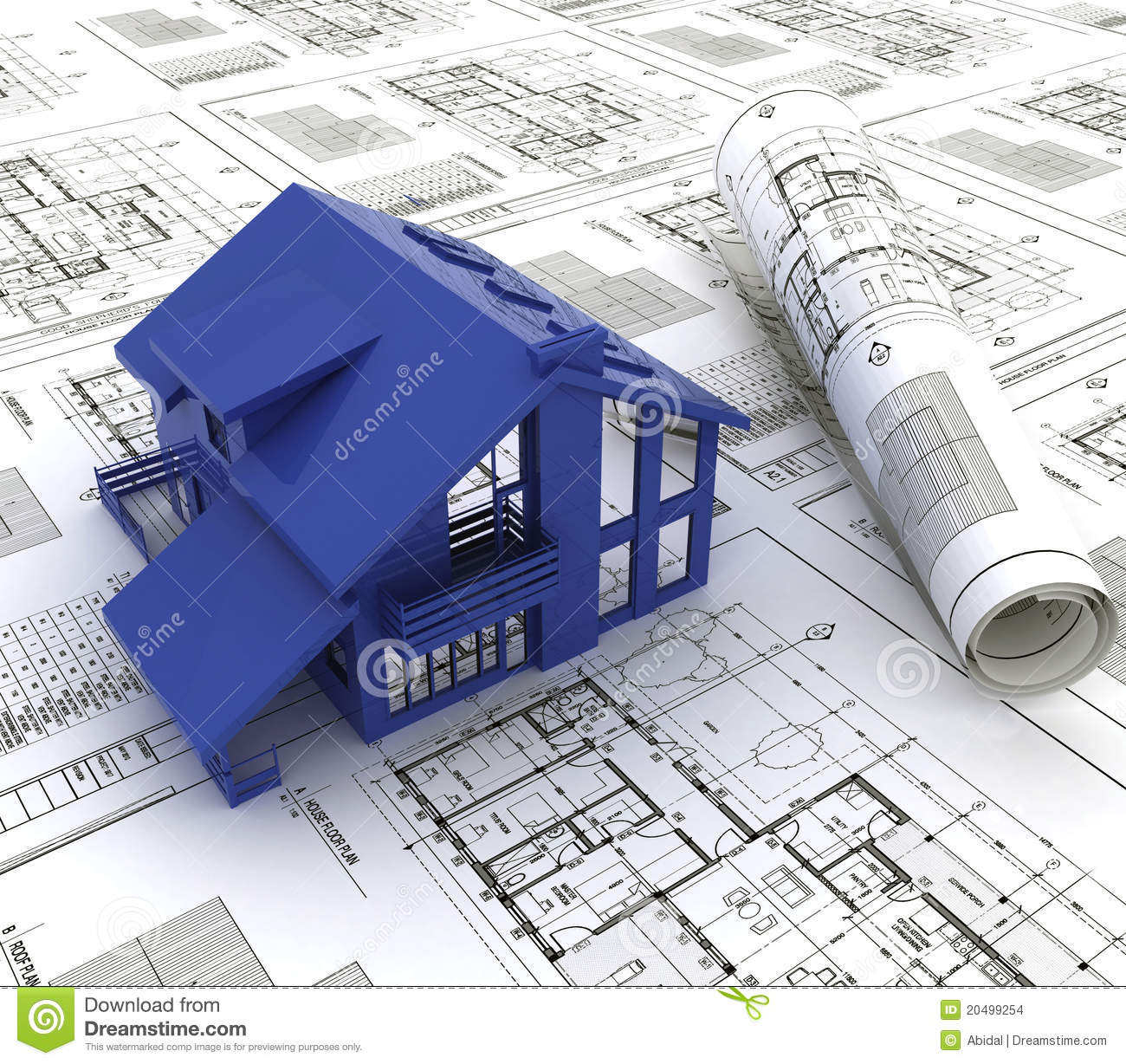 Blue Print Of A House Stock Illustration Image Of Plans