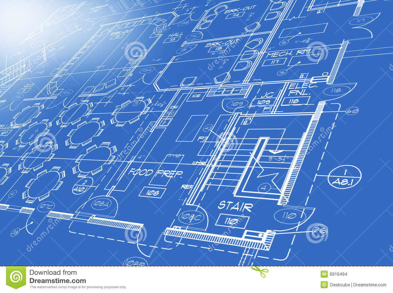 Blue print plan showing stairs tables chairs