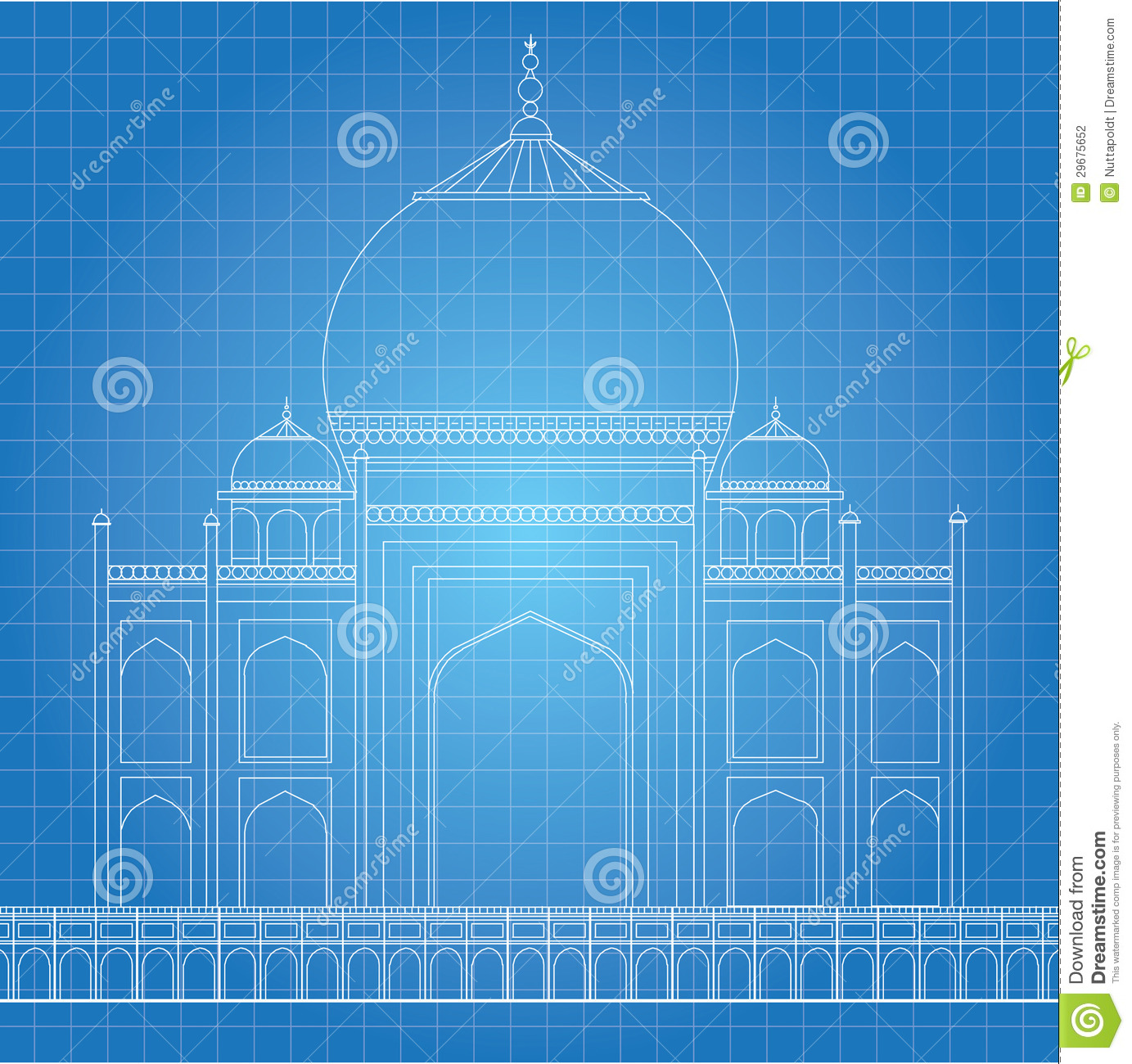 Blue print taj mahal stock illustration image of for Where to get blueprints printed