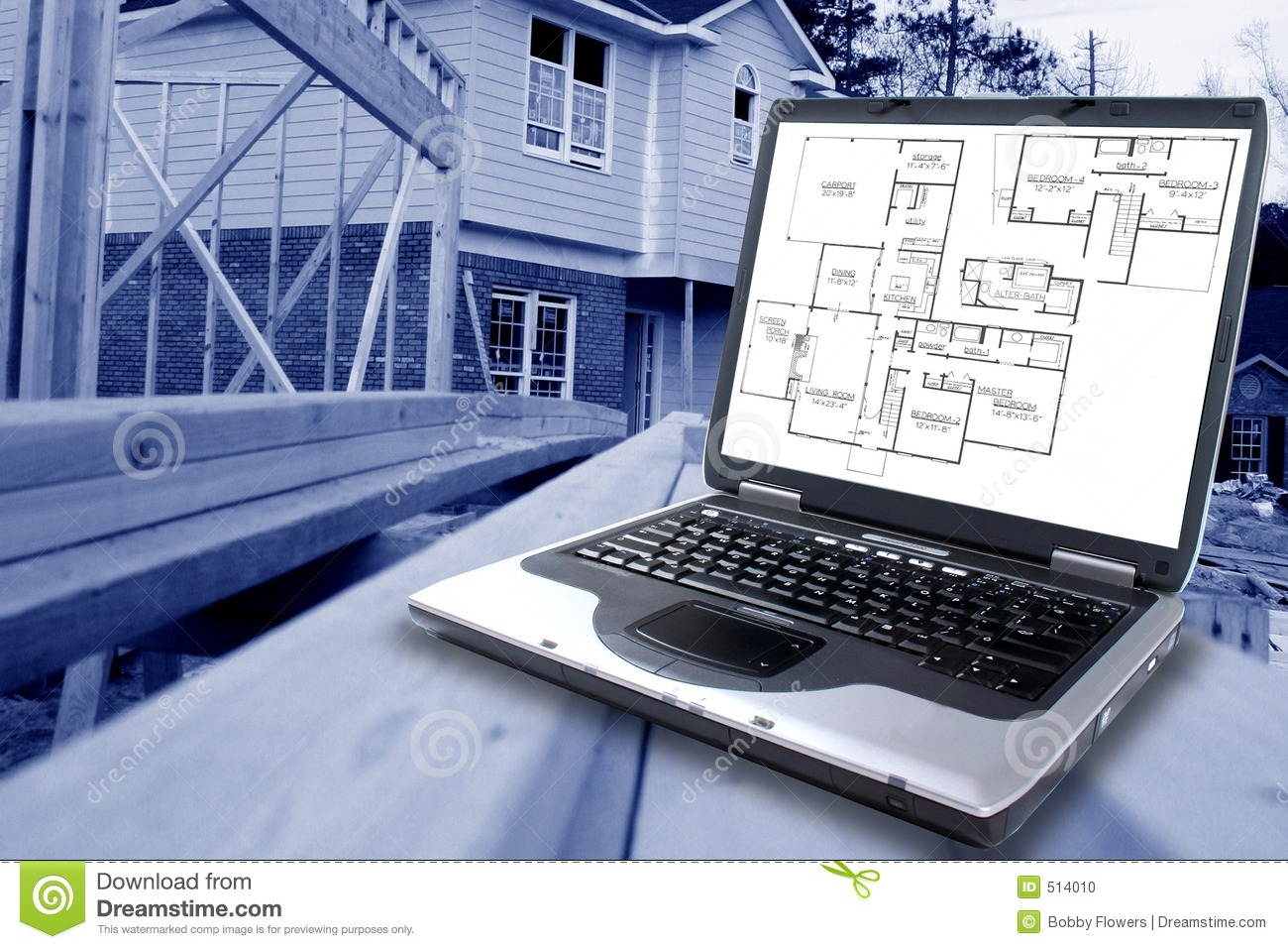 Blue Prints Construction Stock Photo Image 514010