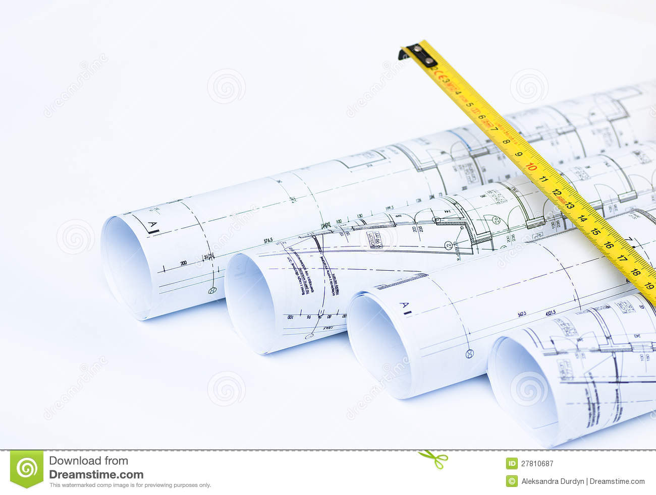 Blue Prints And Rolls Of A Architect S Project Stock Image Image