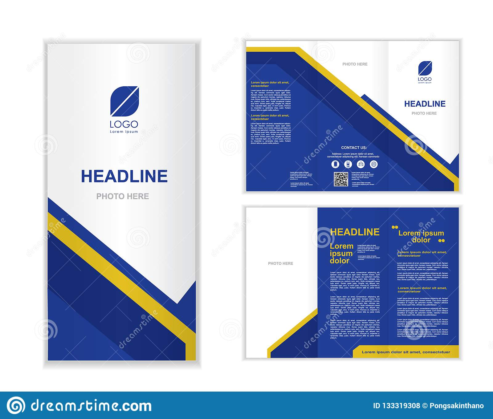 blue professional business three fold brochure template stock vector