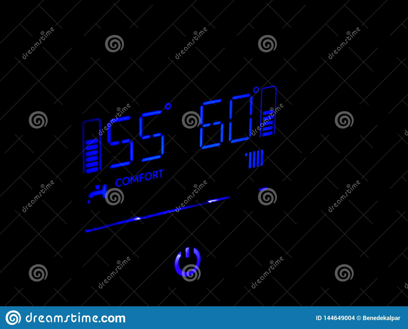 Blue properly working gas central heater digital display