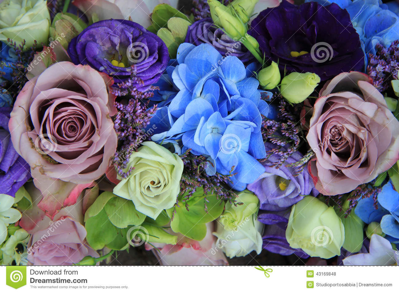 Blue And Purple Bridal Bouquet Stock Photo Image Of Group