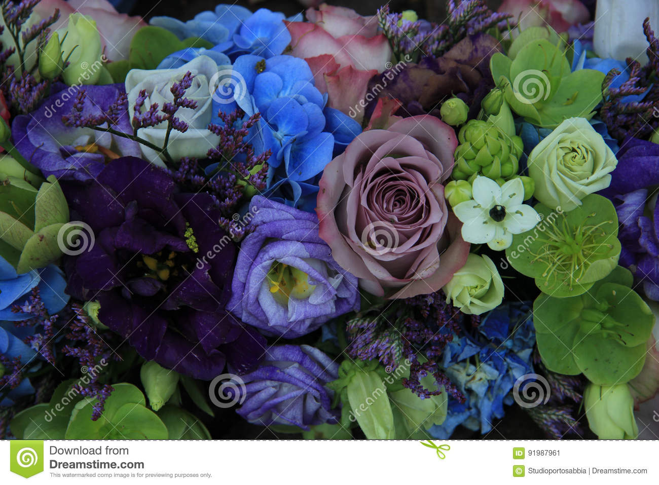 Blue And Purple Bridal Bouquet Stock Image Image Of Background