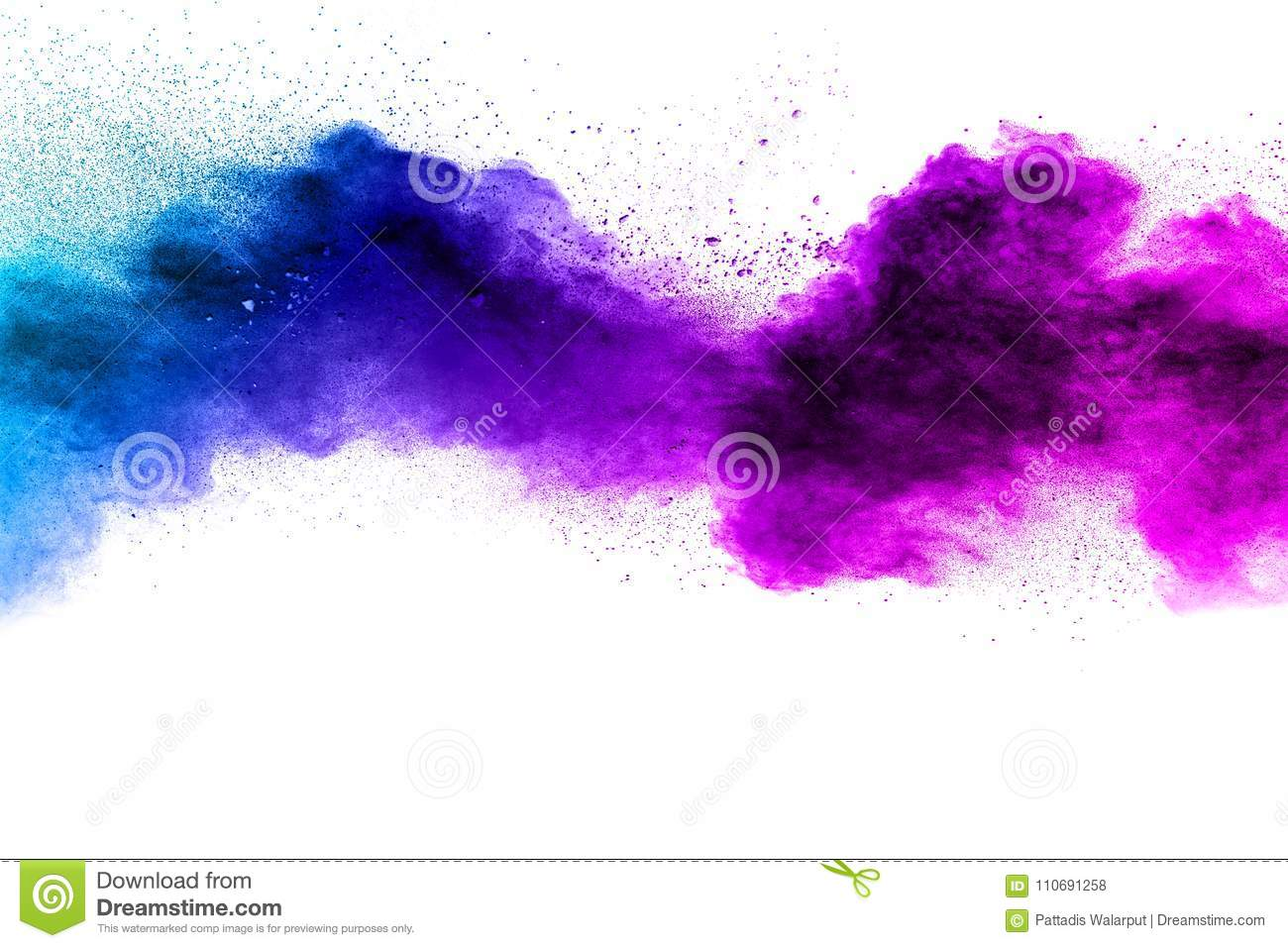 Blue-Purple color powder explosion cloud isolated on white background.