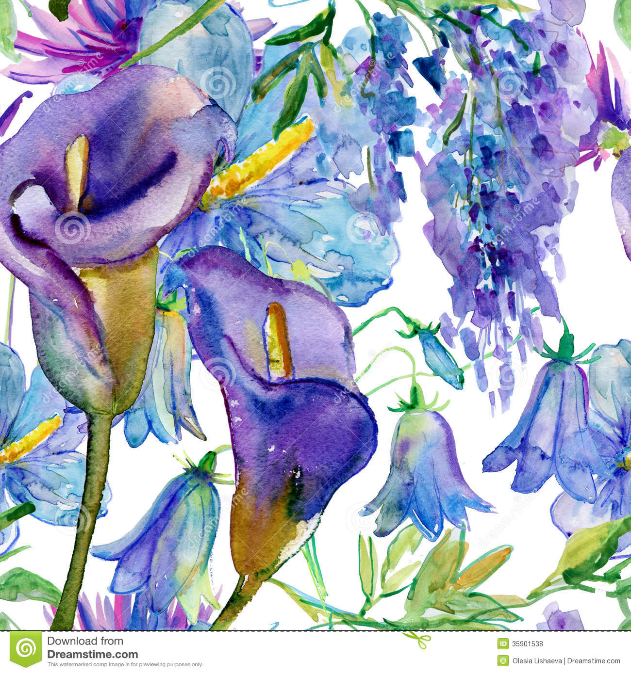 Blue and purple flowers stock illustration illustration of graphic blue and purple flowers izmirmasajfo