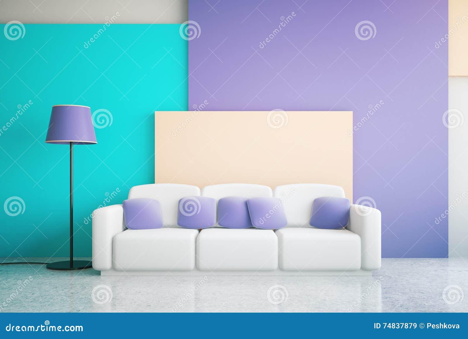 Blue And Purple Room Interior Stock Illustration ...