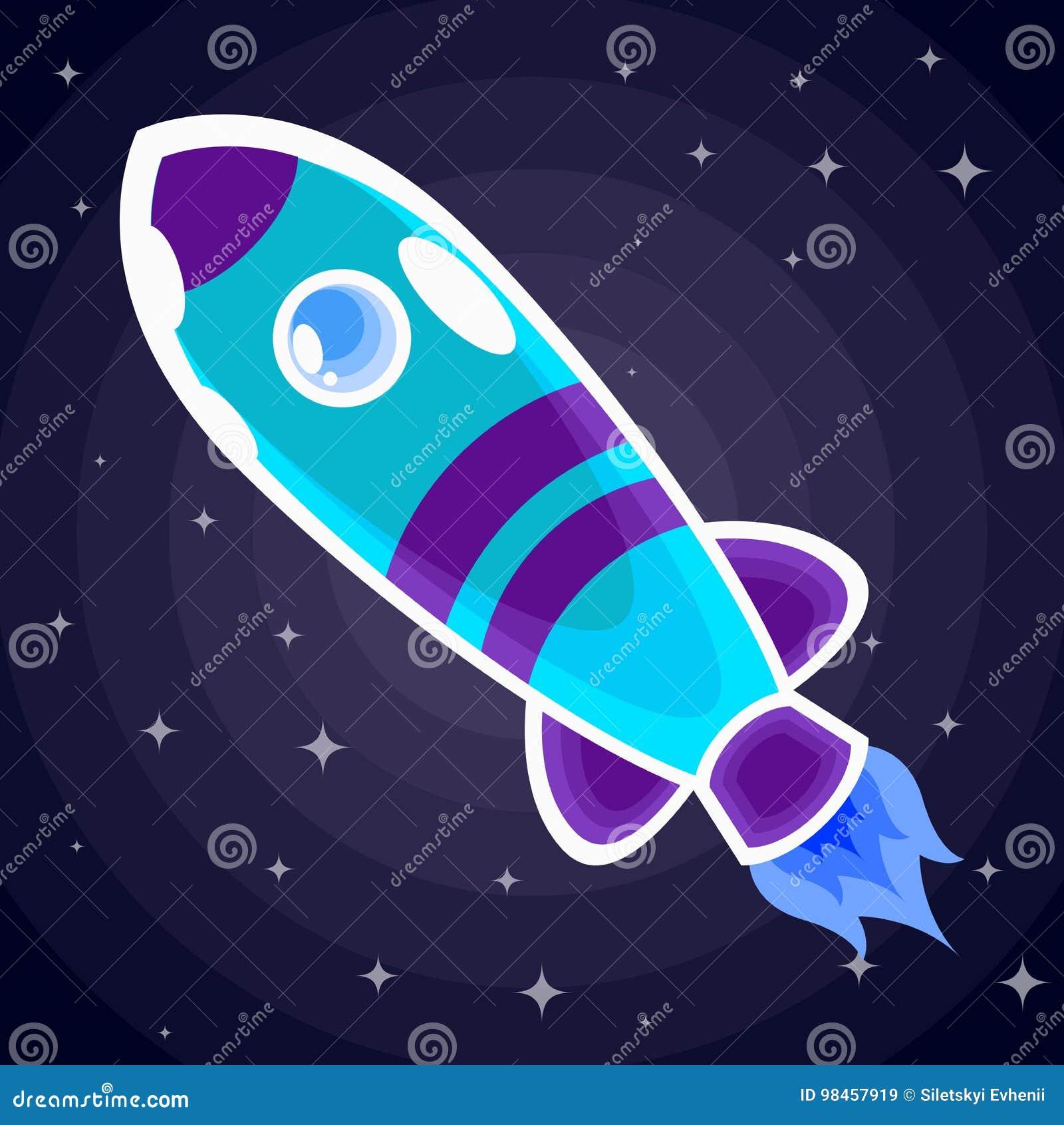 Blue With Purple Stripes Space Rocket With A Porthole Flies