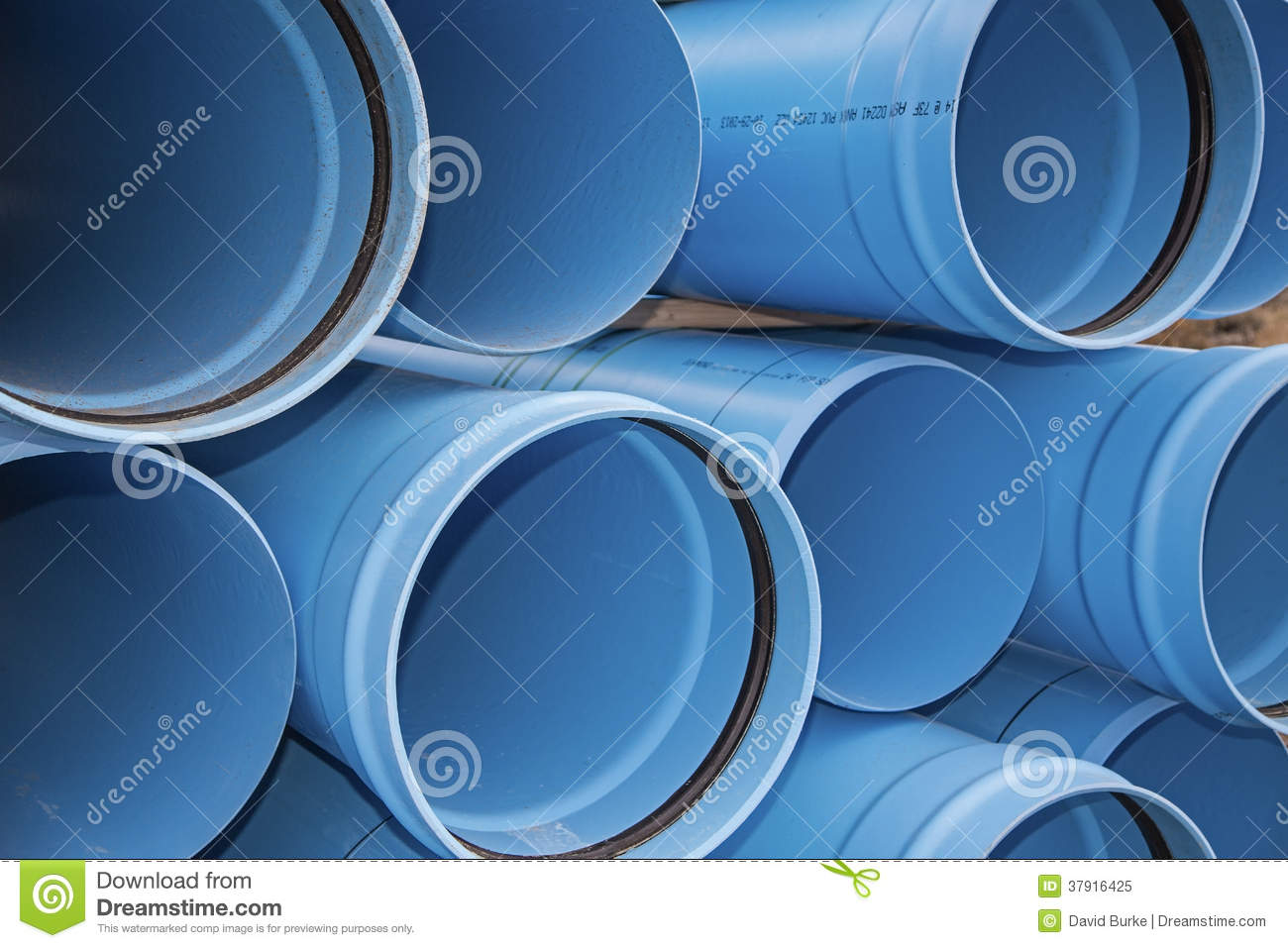 Blue pvc municipal water irrigation pipe line pile stock for Plastic water pipe