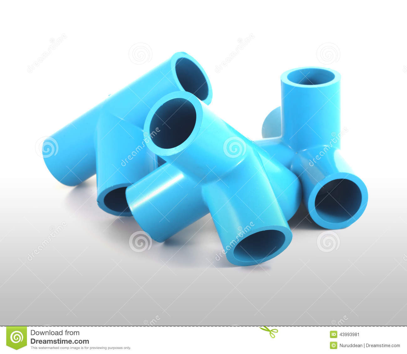 Blue pvc pipe connection stock image of curve
